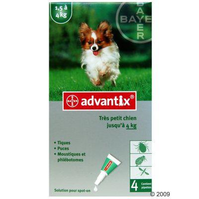 Advantix pour chien de très petite taille - 1,5/4 kg- 2 x 4 pipettes