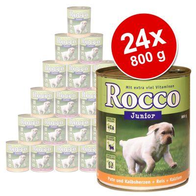 Rocco Junior Value Pack 24 x 800 g - Chicken Hearts, Rice & Calcium