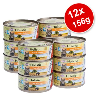 Porta 21 Holistic Cat Food 12 x 156 g - 12 x Tuna & Chicken with Vegetables & Fruits in Jelly (156g)