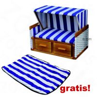 Strandkorb Westerland + gratis Decke - - blau-wei