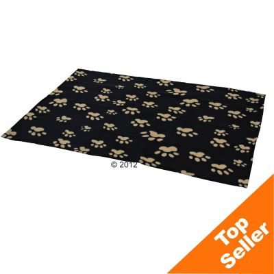 Trixie Fleece Blanket Barney - Black with beige paw prints