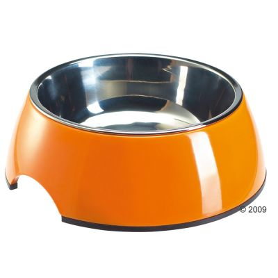 Melamine Cat Bowl Orange with Stainless Steel Insert - 0.16 l, Ø 11 cm