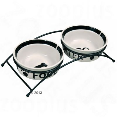 Eat on Feet Bowl Set with Stand from Trixie - 2 x 1.6 litre