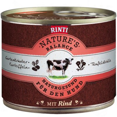 Rinti Nature's Balance 6 x 185g - Lamb, Brown Rice, Brewer's Yeast & Garden Herbs