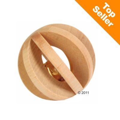 Balle en bois avec grelot pour rongeur - 6 cm de diametre