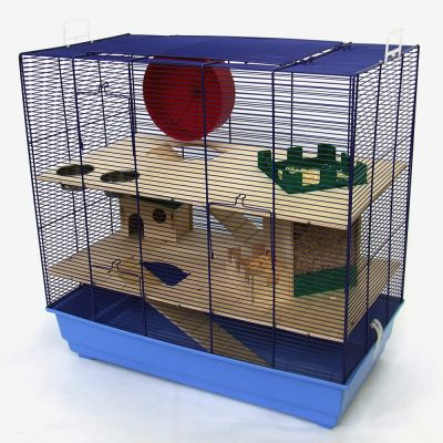 Cage Skyline Fun Area Leon version bleue pour rongeur - L 67 x l 36,5 x H 65 cm