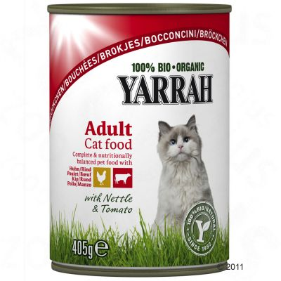 Yarrah Chicken Chunks, 6 x 405 g - Chicken & Beef with Nettle & Tomato