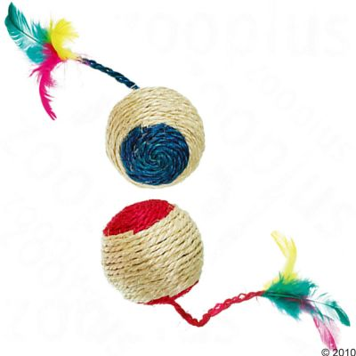 Sisal Ball with Rattle and Feathers - 2 pieces