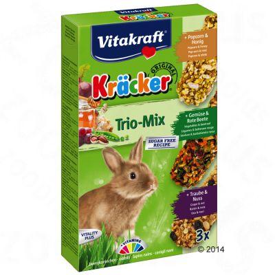 Lot Vitakraft Crackers pour lapin nain - 3 x 3 friandises (multivitamine, legumes, popcorn)
