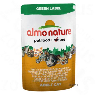 Almo Nature Green Label Fillets in Pouches 6 x 55g - Tuna & Chicken Fillets with Ham