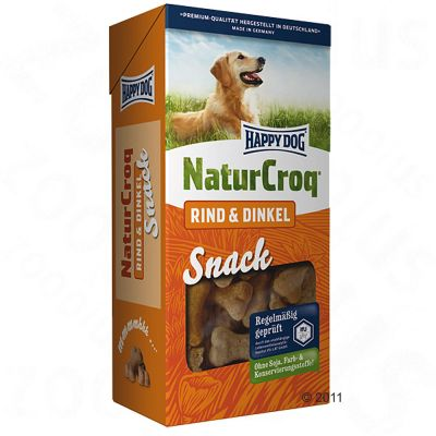Happy Dog Natur Croq Snack Rind & Dinkel – 4 x 350 g