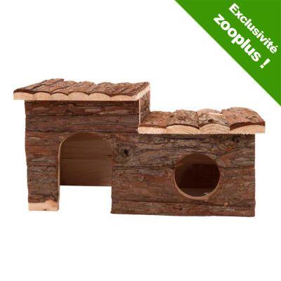 Maisonnette en rondins avec terrasse pour rongeur - L 43 x l 28 x H 22 cm