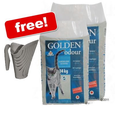 28 kg Golden Grey Odour + Big Mouth Litter Scoop Free! - 2 x 14 + free jug scoop!