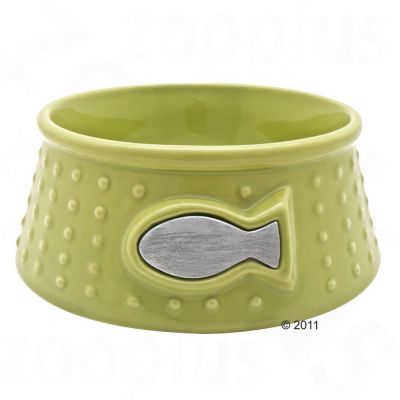 Catit Green Fish Ceramic Cat Bowl - 200 ml
