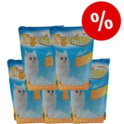 5 x 5l Tigerino Crystals Silicate Litter - 5 x 5l Tigerino Crystals Lavender Cat Litter