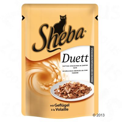 Zum Angebot - Katze / Katzenfutter nass / Sheba Duett 6 x 85 g - mit Huhn