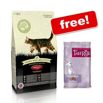10kg Bags James Wellbeloved Cat Food + Tigeria Snacks Free! - Adult Cat - Turkey