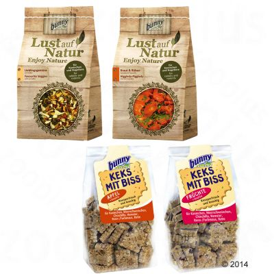 Lot de friandises Bunny Envie de nature & biscuits croquants - 4 sachets de friandises