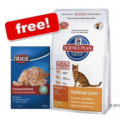 Large Bags Hill's Science Plan + Catnip Herbal Mix Free!* - Adult Cat Optimal Care - Chicken (10kg)