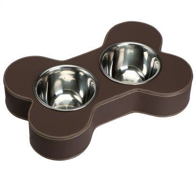 Dual Dog Bowl Holder Faux Leather, brown - 2 x 800 ml, Ø 16 cm