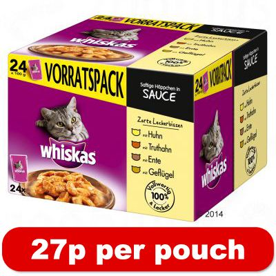 Whiskas Pouches in Sauce 24 x 100g - Hearty Ragout in Sauce