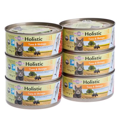 Porta 21 Holistic Cat Food 6 x 156 g - Beef & Chicken with Prawns, Vegetables & Fruits in Jelly