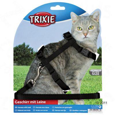 Parure pour chat avec harnais et fermeture de sécurité- bleu