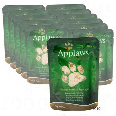 Sachets fraîcheur pour chat Applaws Sélection 12 x 70 g- filet de thon & crevettes du Pacifique