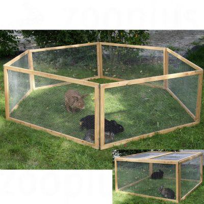 Enclos en bois pour rongeur et lapin - enclos uniquement : L 120 x l 120 x H 59 cm, 6 elements