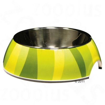 Catit Green Zebra Cat Bowl, melamine. stainless steel insert - 160 ml, diameter 11 cm