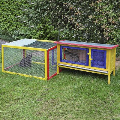 Multi-coloured Rabbit Hutch with Run - 204 x 70 x 53 cm