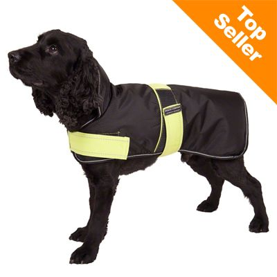 Dog Coat Polar Bear Black with Reflectors - 36cm Back Length