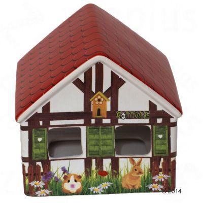 Maisonnette cottage en ceramique pour rongeur et lapin - taille L : L 29 x l 29 x H 20 cm