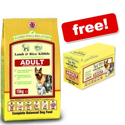 15kg James Wellbeloved Dog Food + 10 Pouches Free!* - Junior Large Breed Duck & Rice (15kg)