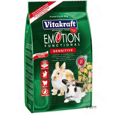 Vitakraft Emotion Sensitive pour lapin nain - 3 x 600 g