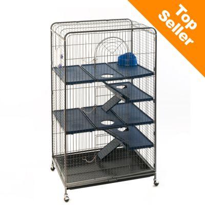 Cage Perfect pour furet et chinchilla - gris antique/bleu fonce: L 79 x l 52 x H 140 cm