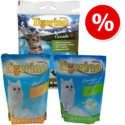 Tigerino Trial Pack: Crystals, Flower Power & Canada - 5 l Tigerino Crystals, 5 l Flower Power Crystals, 15 kg Tigerino Canada