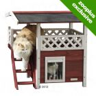Swedish Cat House Lodge - 77 x 50 x 73 cm (L x W x H) (Red/White)