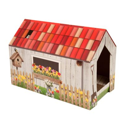 Garden House Cat Den with Scratch Pad - 49 x 26 x 36 cm (L x W x H)