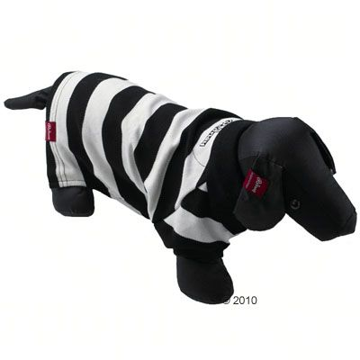 Rodney Dog Polo Shirt Pique Stripes in black/white - Size M : 24 cm back length