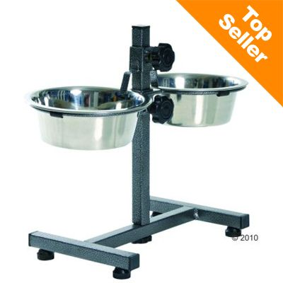Dog Bar with Bowls - 2 x 1.8L, 20cm diam,  up to 40 cm high