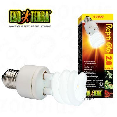 Hagen Exo Terra Repti Glo 2.0 Compact Lamp - 26 Watt, Measurements: H 19.5  x W 6.2 x D 6.3 cm