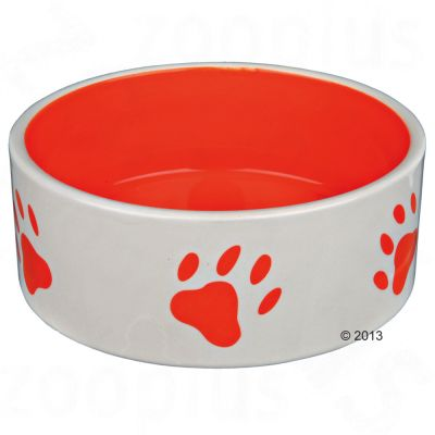 Trixie Ceramic Bowl with Orange Paw Prints - 0.8 litre