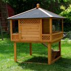 Outback Rabbit Hutch Pagoda with Run - 116 x 116 x 150 cm (L x W x H) (3 parcels) - Small Pet Supplies