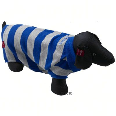 Rodney Dog Polo Shirt Pique Stripes in blue/grey - Size XXL 42 cm back length