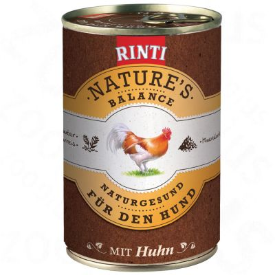 Rinti Nature's Balance 6 x 400 g - Chicken, Brown Rice, Mineral Clay & Garden Herbs