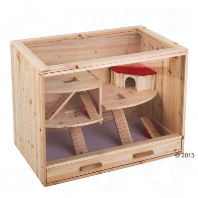 Cage en bois pour hamster, souris et rat - L 80 x l 50 x H 60 cm