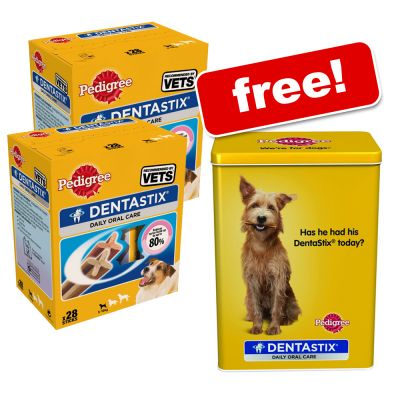 Limited Offer: Pedigree Denta Stix 2 x 28 pieces + Free Tin! - Medium Dogs 2 x 28 Sticks