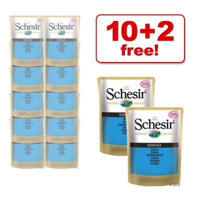 100 g Schesir Pouch, 10 + 2 Free! - 12 x 100 g Adult Chicken with Sea Bass