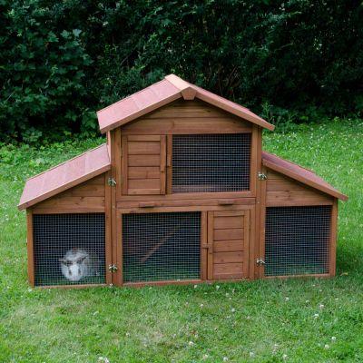 Clapier Castle + enclos pour rongeur et lapin - clapier (avec enclos) : L 175 x l 70 x H 110 cm (2 paquets*)